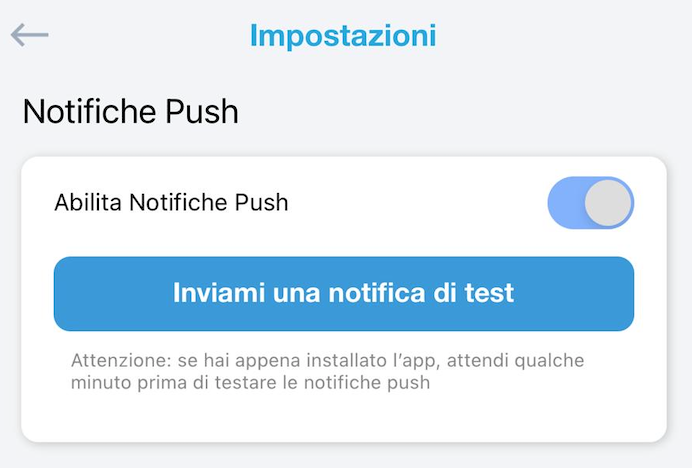 tasto inviami una notifica push di test